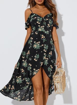Sexy Floral Camisole Neckline High Low X-line Dress (103038263)