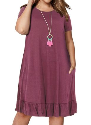 Plus Size Tunic Solid Round Neckline Casual Pockets Plus Dress (103038133)