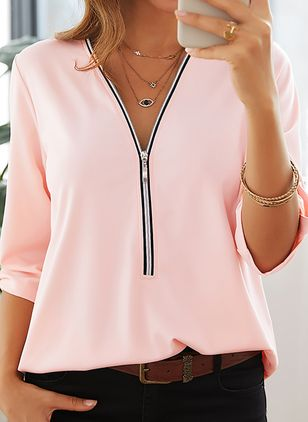 Solid Casual V-Neckline Half Sleeve Blouses (103038291)