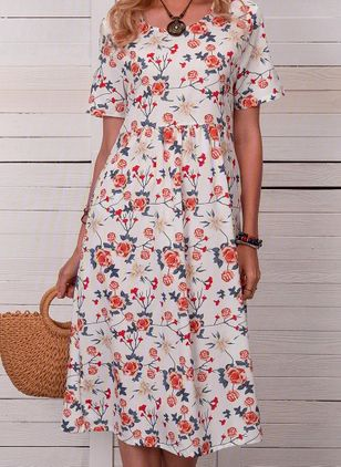 Casual Floral Tunic Round Neckline Shift Dress (103038224)