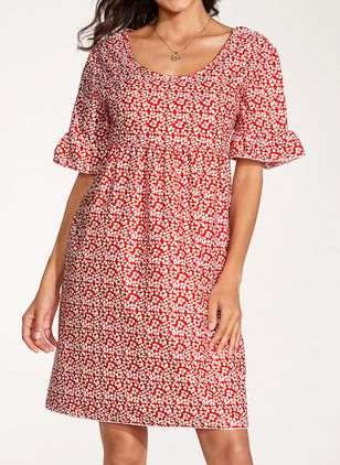 Casual Polka Dot Tunic Round Neckline Shift Dress (103038092)