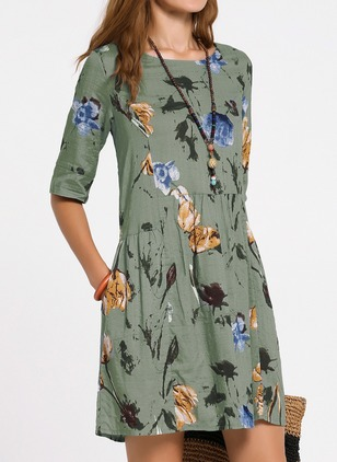 Casual Floral Others Round Neckline X-line Dress (1354521)