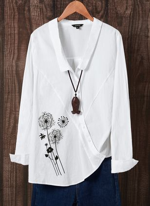Floral Casual Collar Long Sleeve Blouses (4101648)