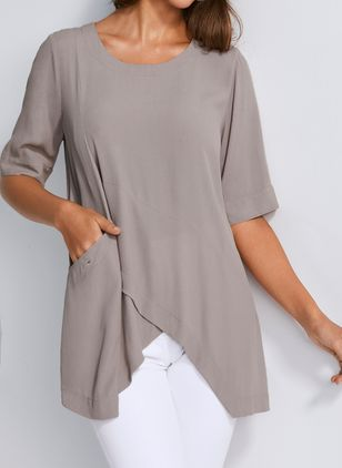 Solid Casual Round Neckline Half Sleeve Blouses (103038337)