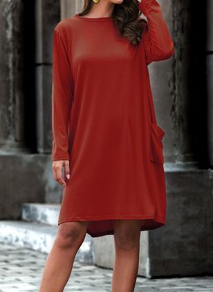 Casual Solid Tunic Round Neckline A-line Dress (103038217)