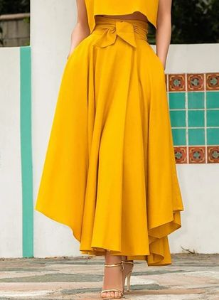 Solid Maxi Casual Pockets Sashes Skirts (1540314)