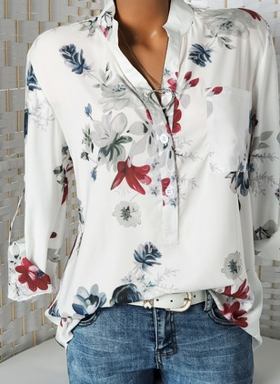 Floral Casual Round Neckline Long Sleeve Blouses (1421529)