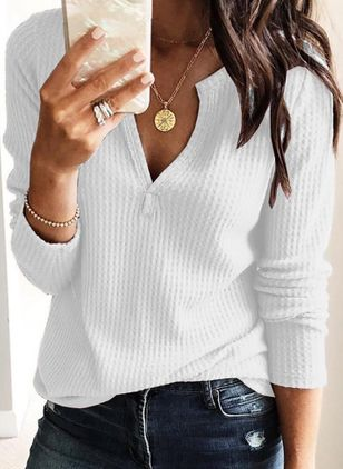 Solid Casual V-Neckline Long Sleeve Blouses (1370587)