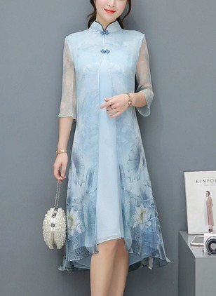 Chinese Style Floral Tunic Collar A-line Dress (1489704)