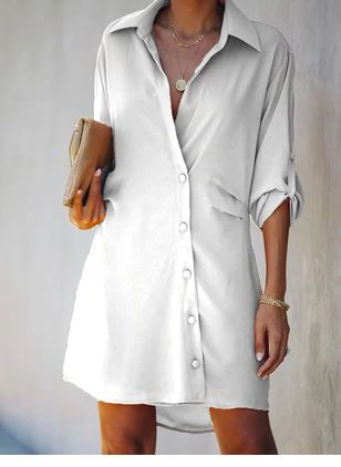 Casual Solid Tshirt V-Neckline T-shirt Dress