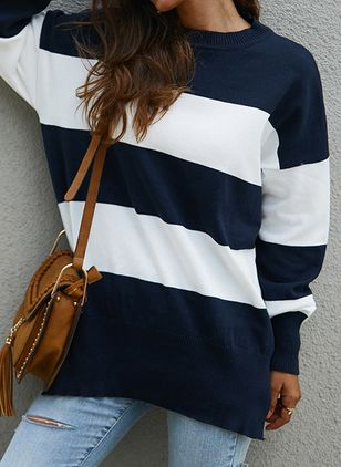 Round Neckline Color Block Casual Loose Shift Sweaters (1399512)