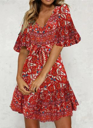 Casual Floral Shirt V-Neckline Shift Dress (103038186)