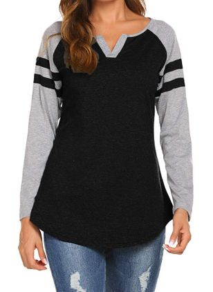 Color Block V-Neckline Long Sleeve Casual T-shirts (1429319)