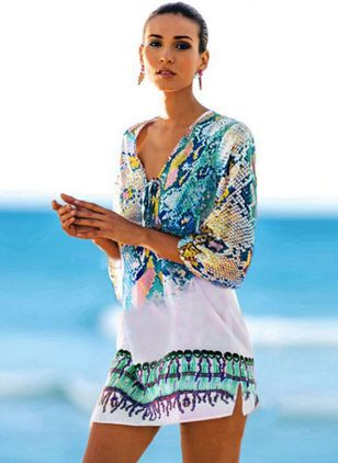 Polyester Color Block Floral Cover-Ups Swimwear (1492435)