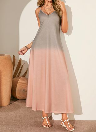 Casual Color Block Slip V-Neckline A-line Dress (1359621)