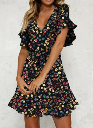 Casual Floral Shirt V-Neckline Shift Dress (103038162)