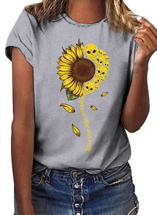 Floral Round Neck Short Sleeve Casual T-shirts (1540326)