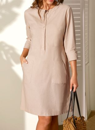 Casual Solid Pockets Round Neckline A-line Dress (1355663)