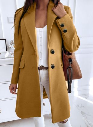Long Sleeve Buttons Trench Coats (125152937)