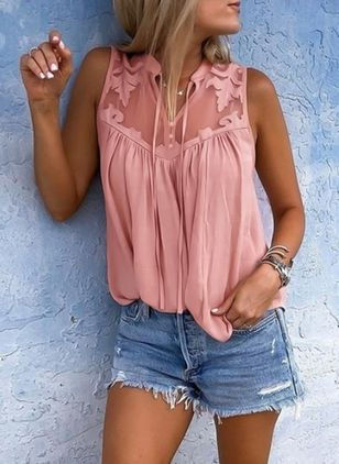 Solid Casual Collar Sleeveless Blouses (1489547)