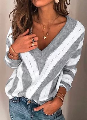 V-Neckline Color Block Casual Loose Regular Shift Sweaters (4101672)