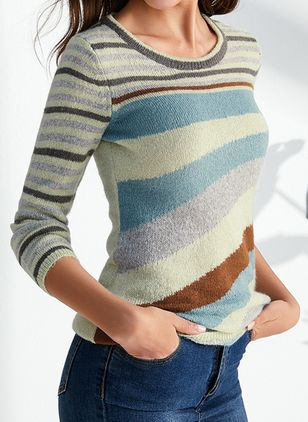 Round Neckline Color Block Casual Tight Regular X-line Sweaters (4101629)