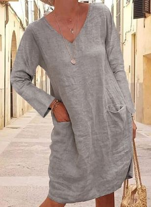 Casual Solid Tunic V-Neckline Shift Dress (103038151)