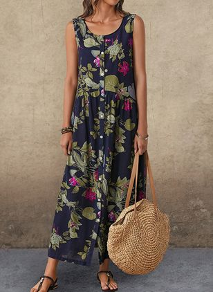 Casual Floral Round Neckline Maxi A-line Dress (1355957)