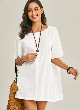 Casual Solid Tunic Round Neckline Shift Dress (1489595)