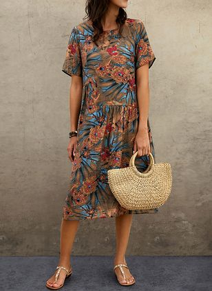 Casual Floral Tunic Round Neckline Shift Dress (103038246)