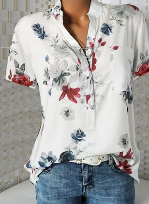 Floral Casual Stand Collar Short Sleeve Blouses (1492354)