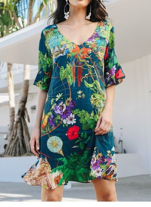 Casual Floral Shirt V-Neckline Shift Dress (106704262)