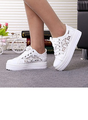 Women's Hollow-out Others Canvas Low Heel Platforms
