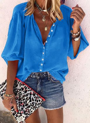 Solid Casual V-Neckline Half Sleeve Blouses