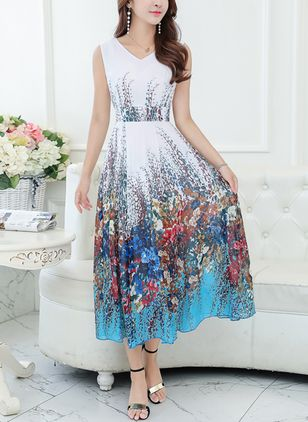 Chinese Style Floral Camisole Neckline Midi X-line Dress (1440298)