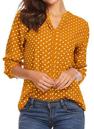 Polka Dot Casual V-Neckline Long Sleeve Blouses (103038327)