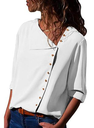 Solid Casual V-Neckline 3/4 Sleeves Blouses (1492371)