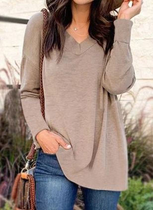Solid Casual V-Neckline Long Sleeve Blouses (103038335)