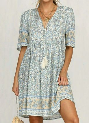 Casual Floral Tunic V-Neckline A-line Dress (103038169)