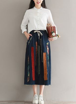 Color Block Mid-Calf Cute Skirts (1489311)