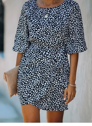 Casual Polka Dot Shirt Round Neckline Shift Dress (106704255)