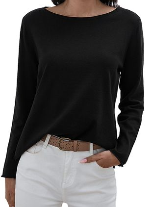 Boat Neckline Solid Casual Loose Regular Shift Sweaters (1354542)