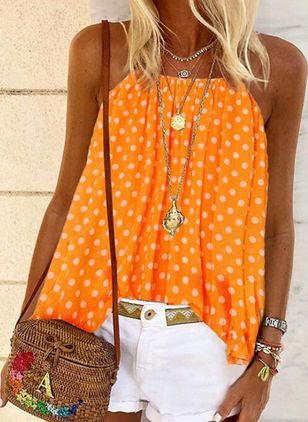 Polka Dot Casual Camisole Neckline Sleeveless Blouses