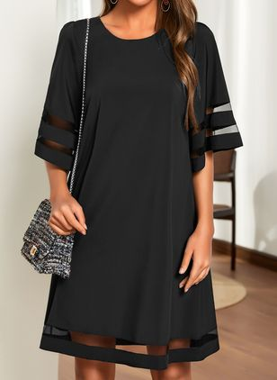 Casual Solid Tunic Round Neckline Shift Dress (1525472)