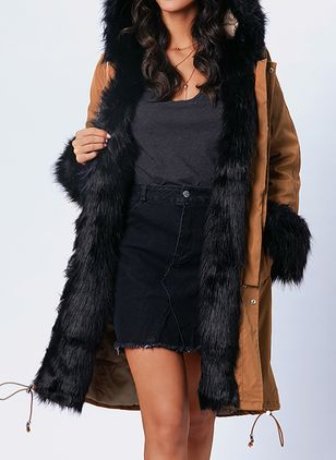 Long Sleeve Hooded Removable Fur Collar Parkas Coats