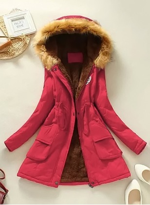 Long Sleeve Hooded Sashes Zipper Pockets Removable Fur Collar Coats (1357032)