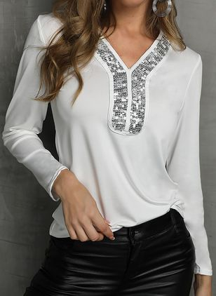 Solid V-Neckline Long Sleeve Casual T-shirts (103038355)
