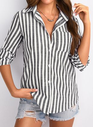 Stripe Casual Collar Long Sleeve Blouses (1397423)