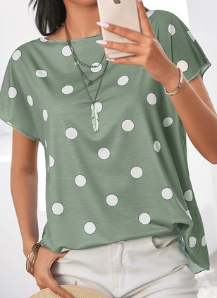 Color Block Casual Round Neckline Short Sleeve Blouses (1355827)