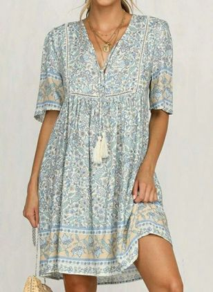 Casual Floral Tunic V-Neckline Shift Dress (4045314)
